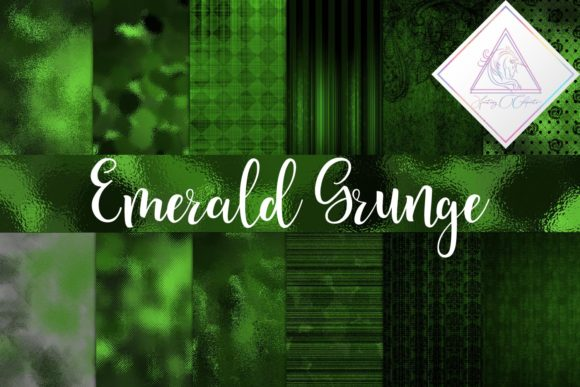 Print on Demand: Emerald Grunge Digital Paper Graphic Textures By fantasycliparts