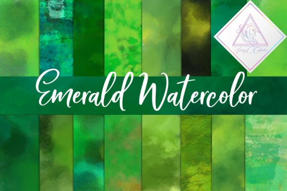 Print on Demand: Emerald Watercolor Backgrounds Graphic Textures By fantasycliparts