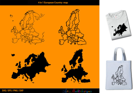 Print on Demand: European Country Map Silhouette Graphic Crafts By Arcs Multidesigns