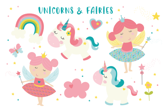 Print on Demand: Fairies and Unicorns Clipart Set Grafik Illustrationen von poppymoondesign