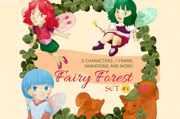 Download Free Fairy Forest Clipart Set 12 Fairy Elements Graphic By Milaski for Cricut Explore, Silhouette and other cutting machines.