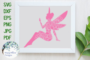 Download Free Fairy Mandala Zentangle Svg Graphic By Wispywillowdesigns for Cricut Explore, Silhouette and other cutting machines.
