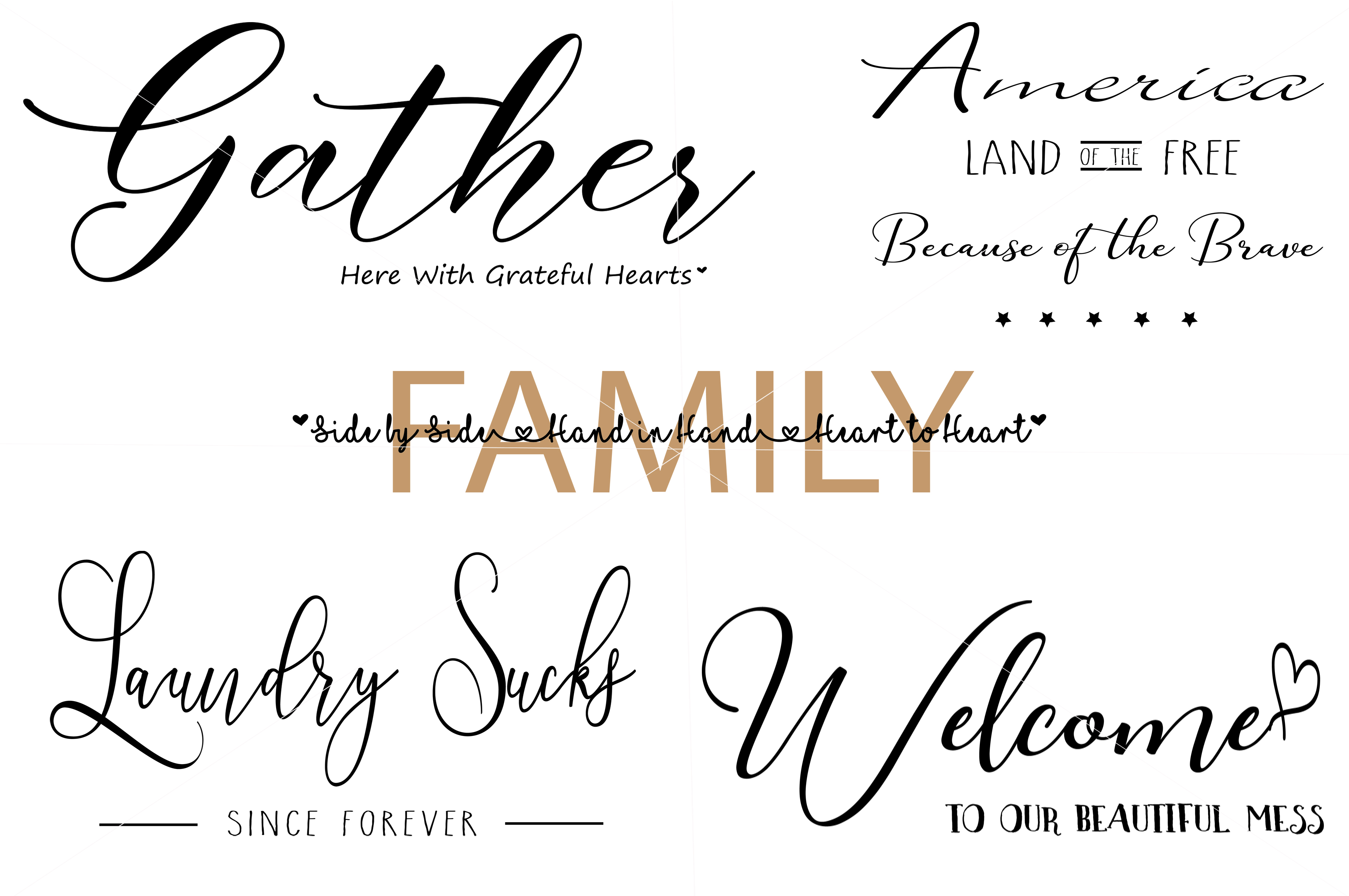 Download Free Farmhouse Style Sign Bundle Graphic By Valerie Greer Creative for Cricut Explore, Silhouette and other cutting machines.