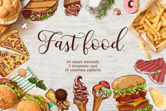 Fast Food Clipart Set Graphic Illustrations By tregubova.jul