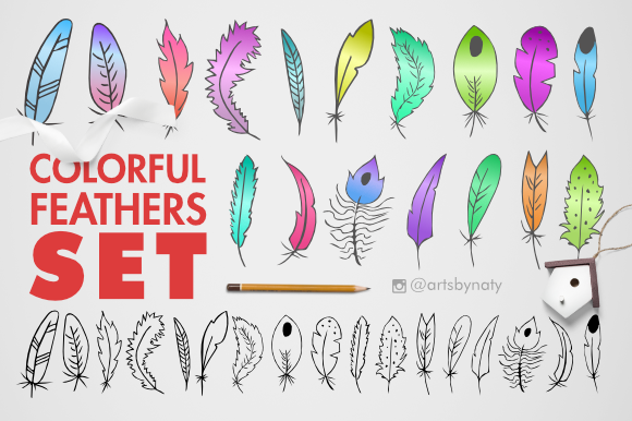 Print on Demand: Feathers Set Clipart Graphic Illustrations By artsbynaty