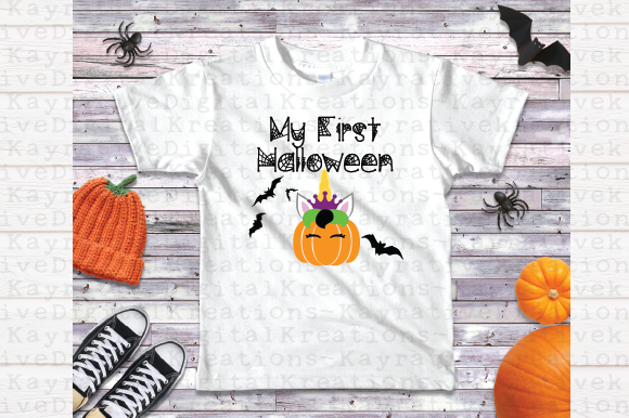 Download Free First Halloween Unicorn Pumpkin Svg Graphic By Kayla Griffin for Cricut Explore, Silhouette and other cutting machines.