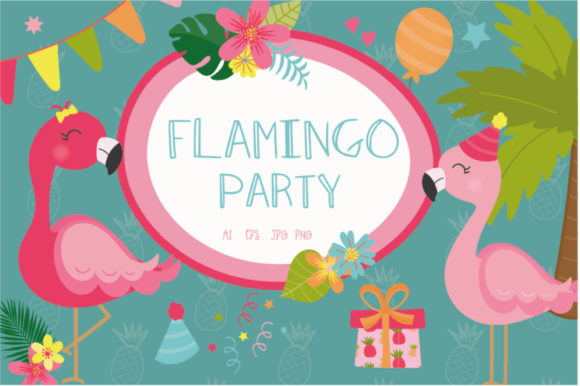 Print on Demand: Flamingo Party Graphic Illustrations By poppymoondesign