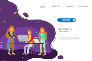Download Free Flat Design Web Page Template For Teamwork Graphic By for Cricut Explore, Silhouette and other cutting machines.