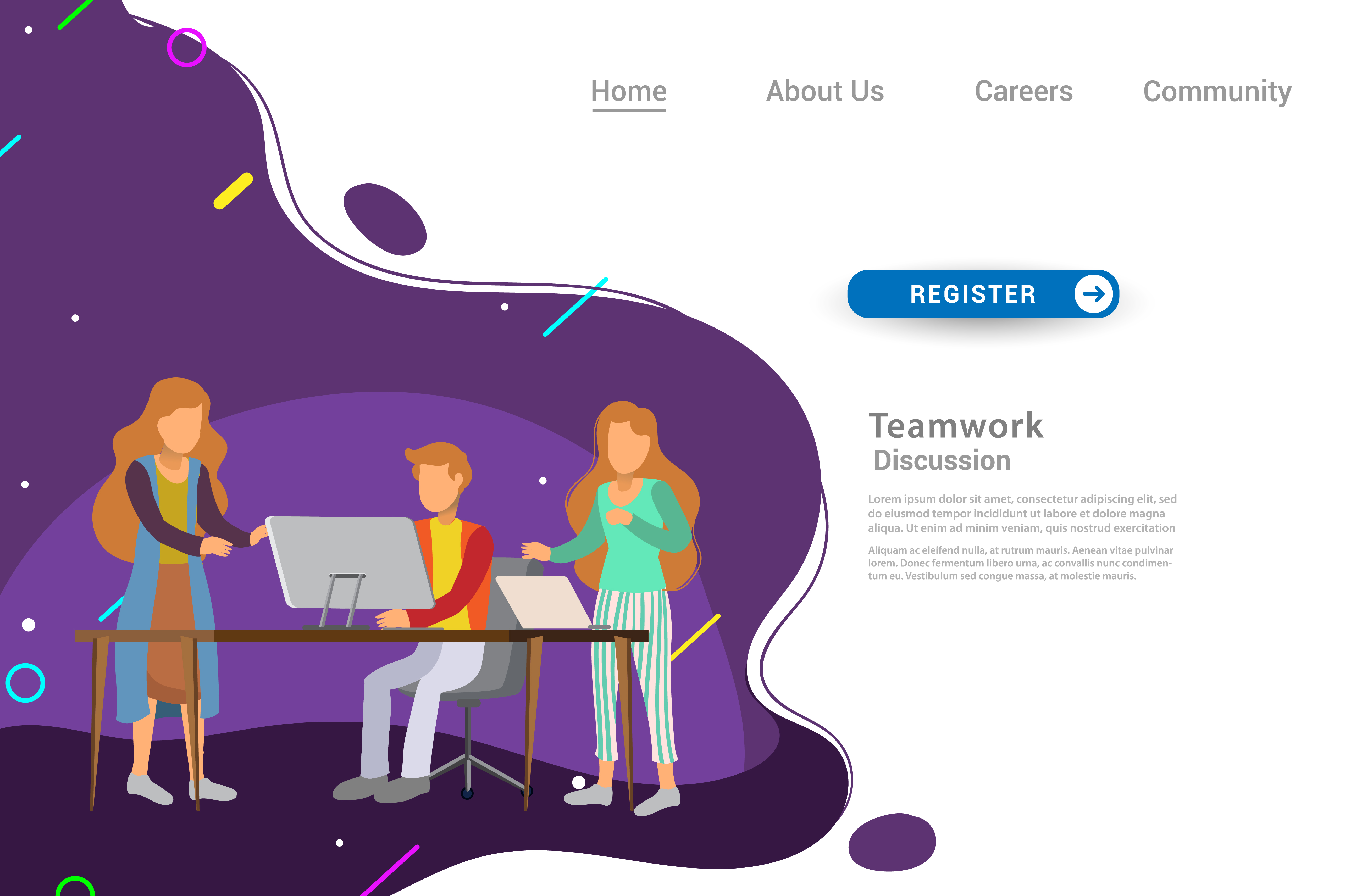 Flat Design Web Page Template For Teamwork Graphic By Otpirusthree Creative Fabrica