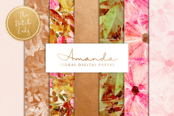 Print on Demand: Floral Backgrounds & Paper - Amanda Gráfico Moldes Por daphnepopuliers