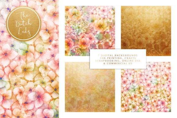 Print on Demand: Floral Backgrounds Jennifer Graphic Patterns By daphnepopuliers - Image 2