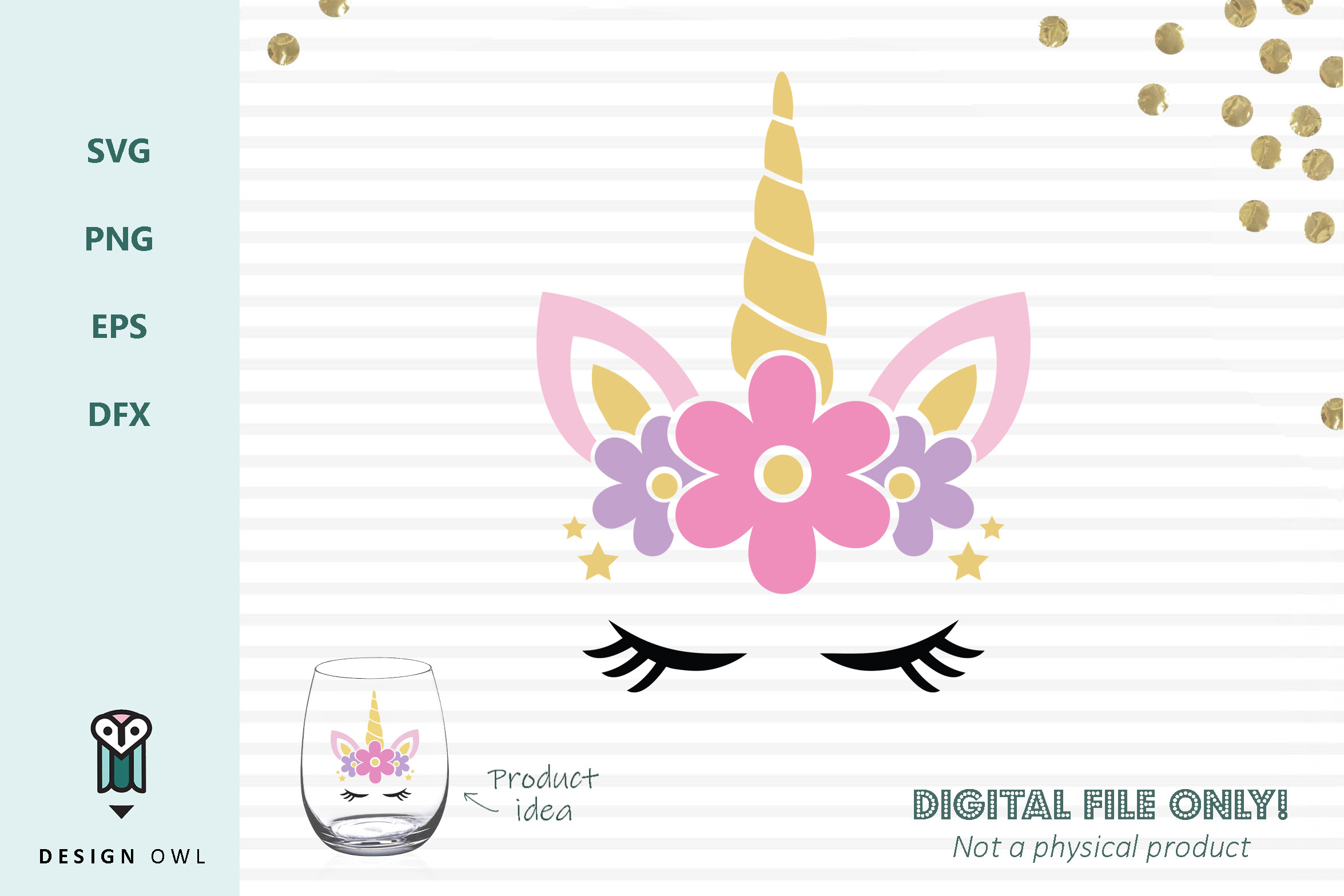 Download Free Floral Unicorn Face Svg File Graphic By Design Owl Creative for Cricut Explore, Silhouette and other cutting machines.