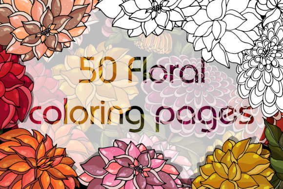 Print on Demand: Floral Anti-stress Coloring Book for Adults Gráfico Libros para colorear - Adultos Por LiterkaEm Store