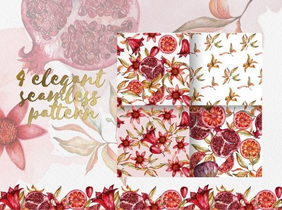 Print on Demand: Floral Collection of Pomegranate Graphic Illustrations By LiterkaEm Store - Image 2