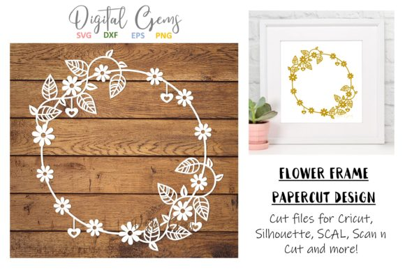 Download Free Flower Frame Graphic By Digital Gems Creative Fabrica for Cricut Explore, Silhouette and other cutting machines.