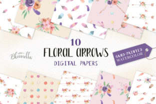 Flower Jars Digital Papers Watercolor Floral Jar Patterns - Hand Painted Graphic By Bloomella