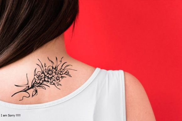 Download Free Flower Tattoo Svg Design Graphic By Tattoo Design For Girl for Cricut Explore, Silhouette and other cutting machines.