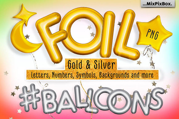 Print on Demand: Foil Balloons Overlays Graphic Layer Styles By MixPixBox