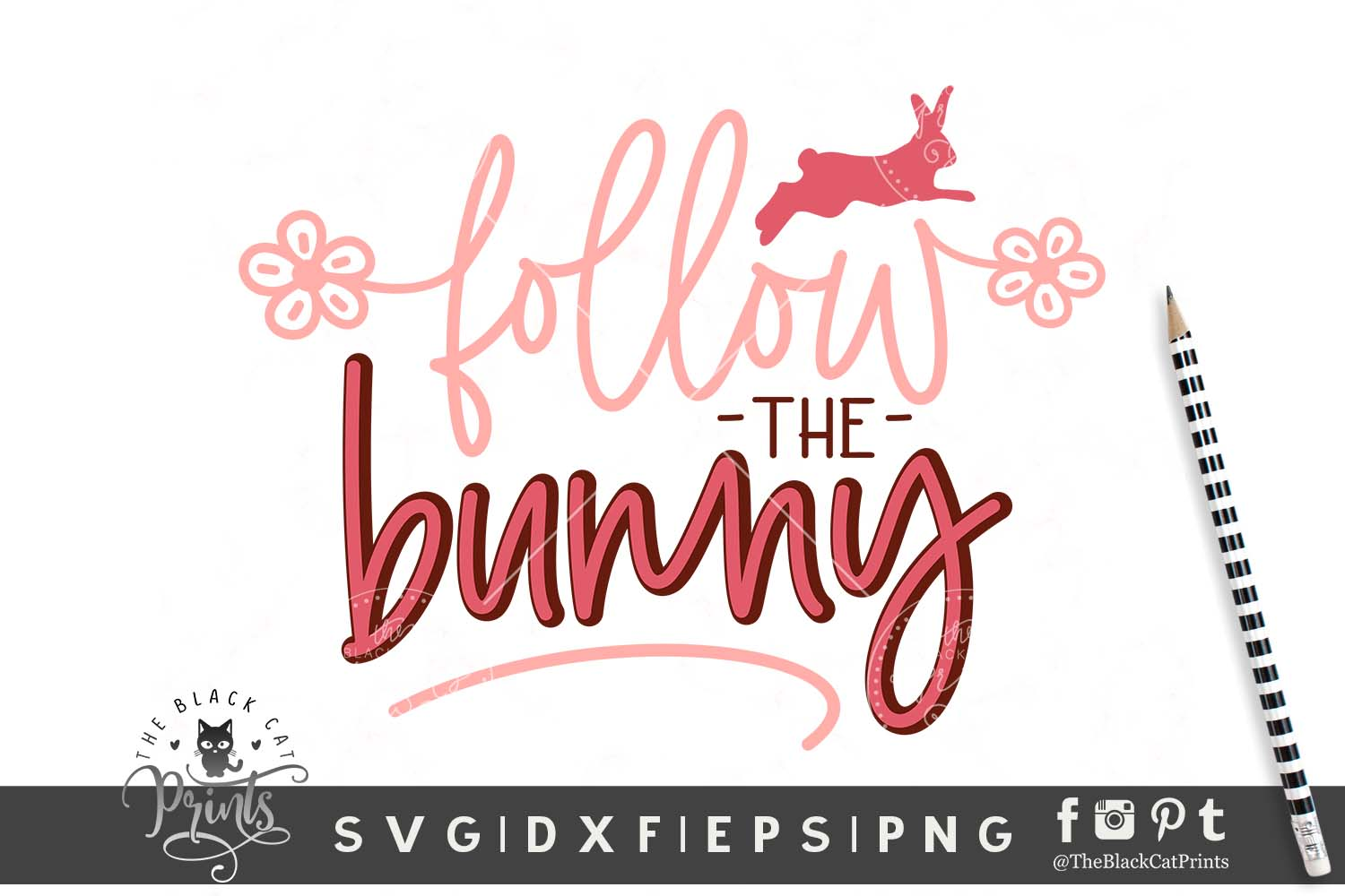 Download Free Follow The Bunny Svg Grafico Por Theblackcatprints Creative for Cricut Explore, Silhouette and other cutting machines.