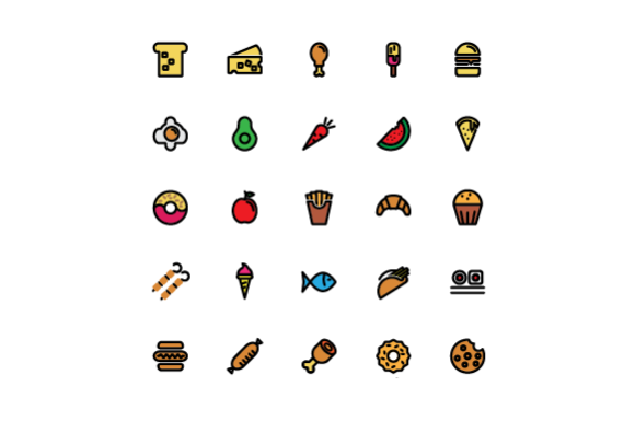 Food Color Vector Icon Set Graphic Icons By tutukof - Image 1