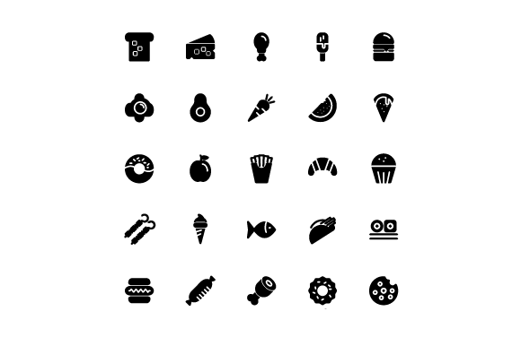 Food Glyph Vector Icon Set Graphic Icons By tutukof