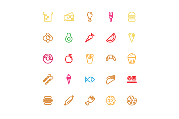 Food Line Color Vector Icon Graphic Icons By kokank13