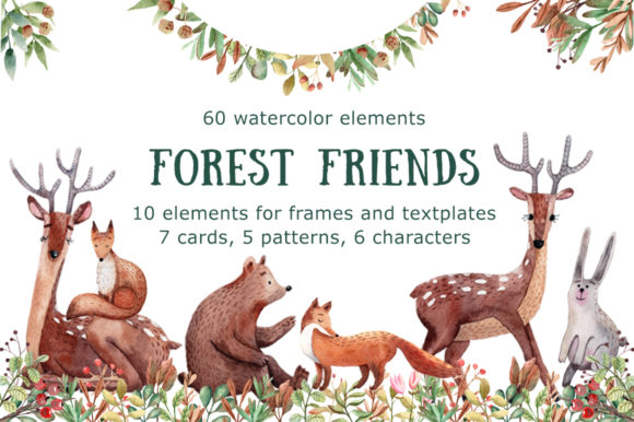 Forest Friends - Watercolor Clip Art Set Graphic Illustrations By mashamashastu