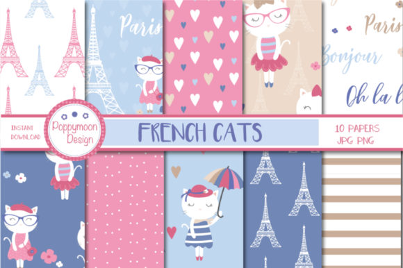 Print on Demand: French Cats Paper Graphic Patterns By poppymoondesign