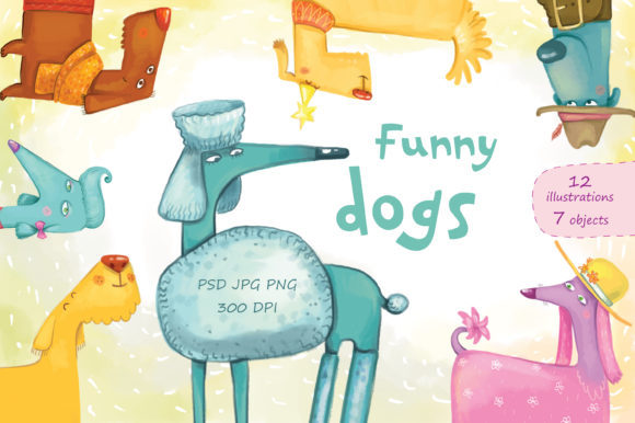 Print on Demand: Funny Dogs Graphic Illustrations By Zooza Art