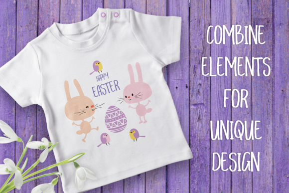 Print on Demand: Funny Easter Bunnies. Vector Cliparts and Cutting Files Graphic Illustrations By Olga Belova - Image 2