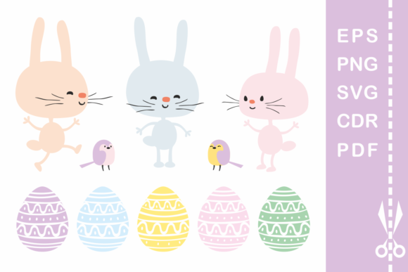 Print on Demand: Funny Easter Bunnies. Vector Cliparts and Cutting Files Graphic Illustrations By Olga Belova