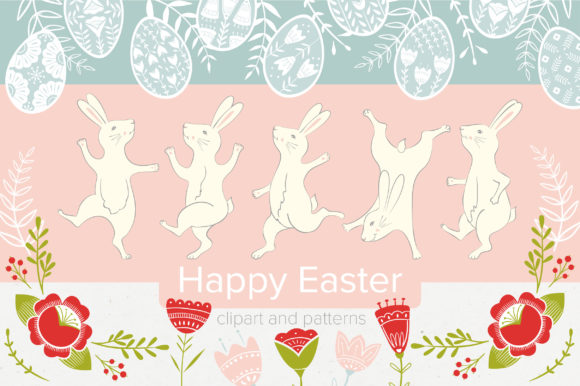 Print on Demand: Funny Easter Folk Style Graphic Illustrations By KatiaZhe