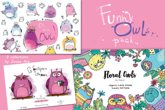Print on Demand: Funny Owls Bundle Grafik Objekte von Zooza Art