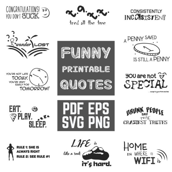 Download Free Funny Quotes Bundle Graphic By Yumiguelgfxartshop Creative Fabrica SVG Cut Files