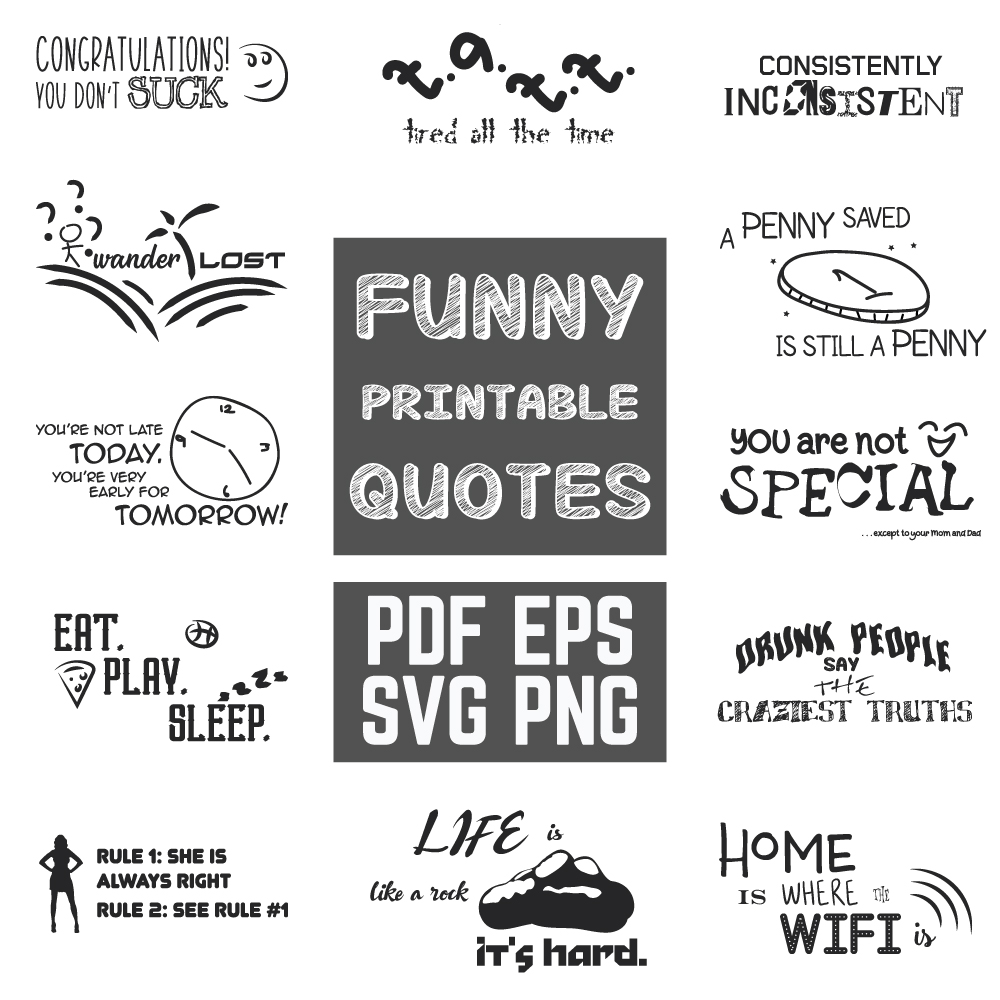 Download Free Funny Quotes Bundle Graphic By Yumiguelgfxartshop Creative Fabrica for Cricut Explore, Silhouette and other cutting machines.