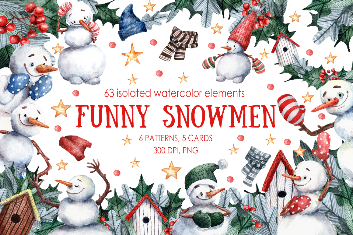 Download Free Funny Snowmen Watercolor Clip Art Set Graphic By Mashamashastu for Cricut Explore, Silhouette and other cutting machines.