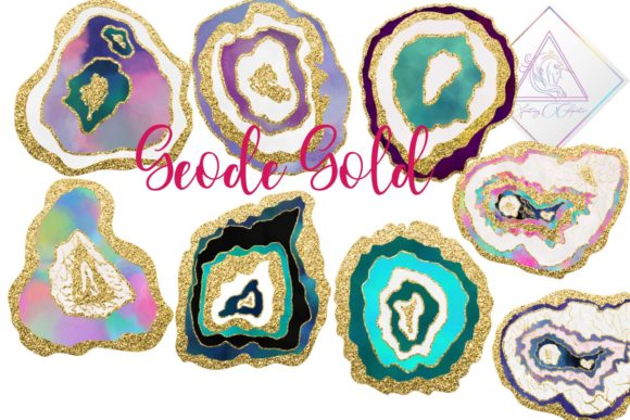 Print on Demand: Geode Gold Clipart Graphic Illustrations By fantasycliparts