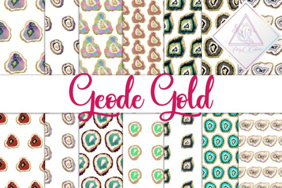 Print on Demand: Geode Gold Graphic Textures By fantasycliparts