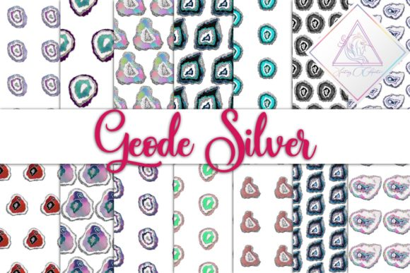 Print on Demand: Geode Silver Digital Paper Graphic Textures By fantasycliparts