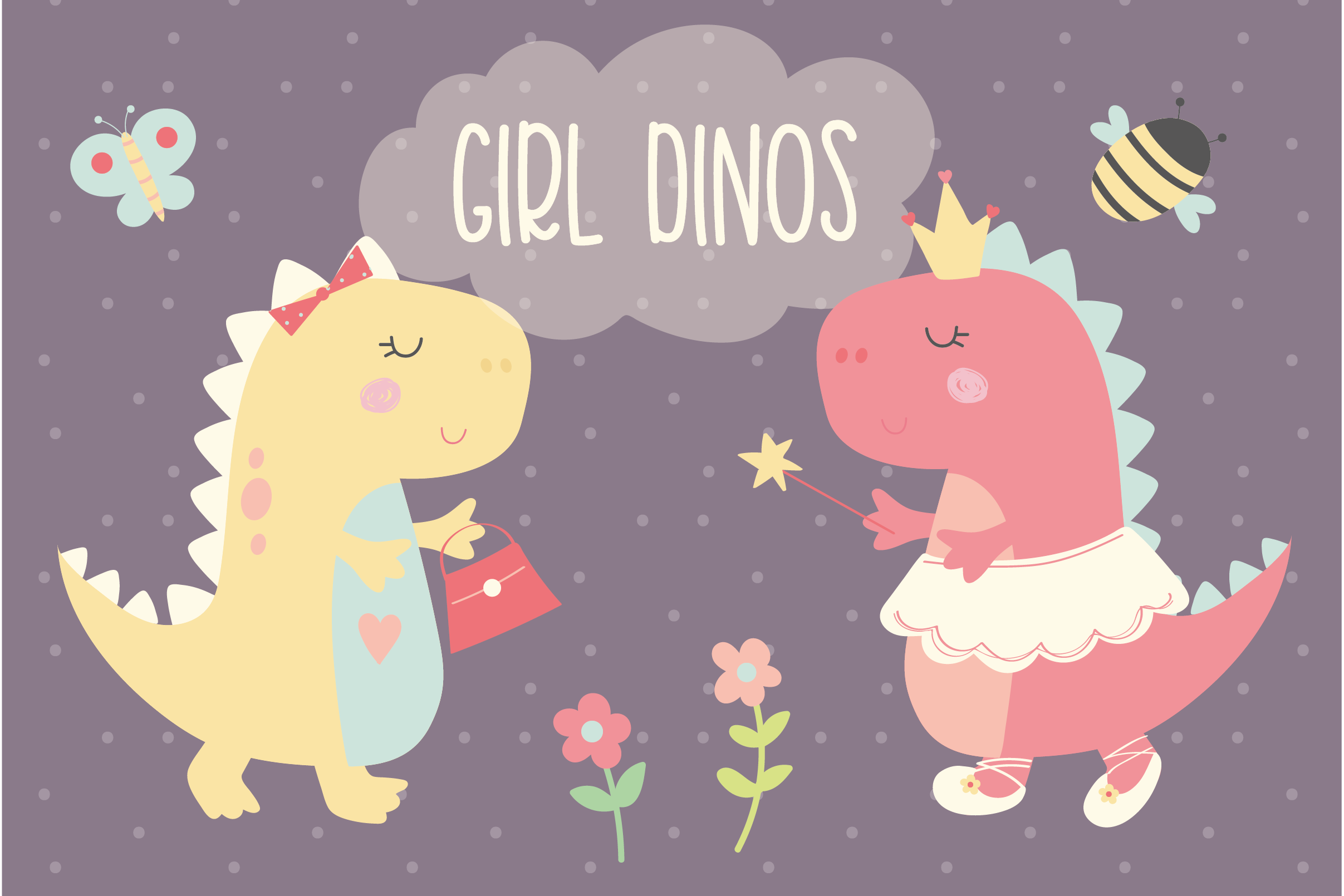 Download Free Girl Dinos Graphic By Poppymoondesign Creative Fabrica for Cricut Explore, Silhouette and other cutting machines.