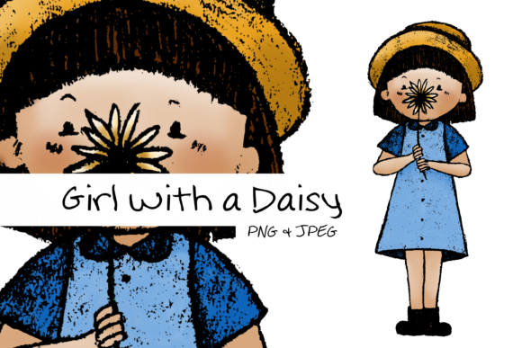 Girl with a Daisy Graphic Illustrations By Only Emma Designs