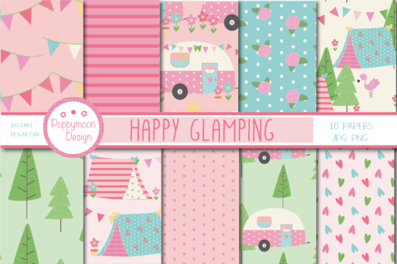 Print on Demand: Glamping Papers Graphic Patterns By poppymoondesign