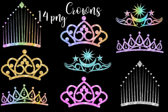 Print on Demand: Glitter Crowns Clipart Graphic Illustrations By fantasycliparts