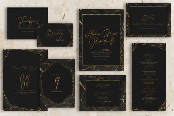 Gold Black Marble Wedding Invitation Graphic Backgrounds By Creative Paper