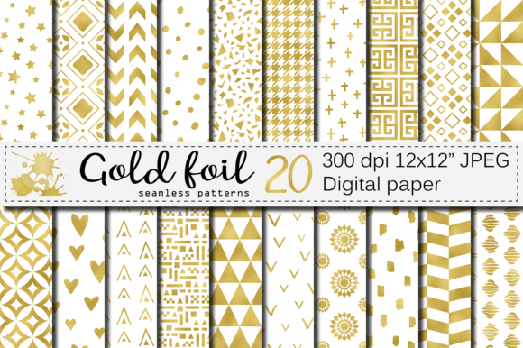 Gold Foil Seamless Geometric Patterns Graphic Patterns By VR Digital Design