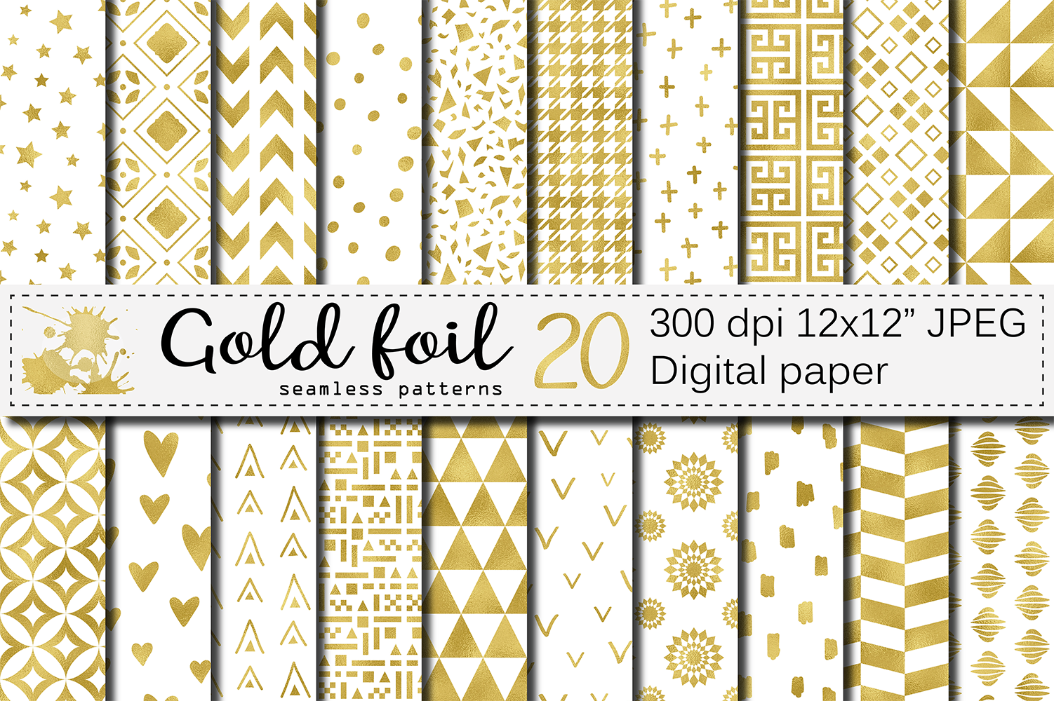 Download Free Gold Foil Seamless Geometric Patterns Graphic By Vr Digital for Cricut Explore, Silhouette and other cutting machines.