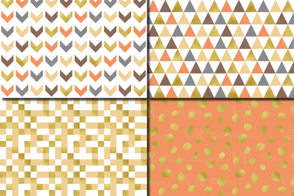 Gold Foil Seamless Geometric Patterns Graphic Patterns By VR Digital Design - Image 2