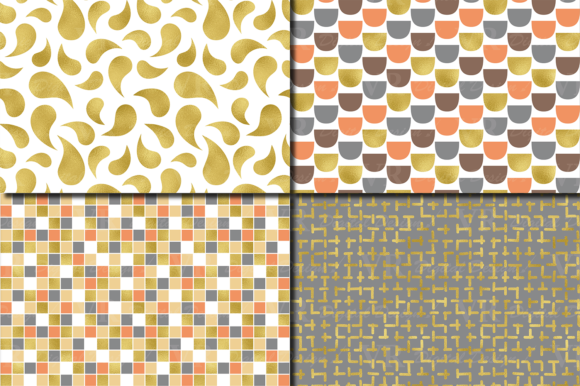 Gold Foil Seamless Geometric Patterns Graphic Patterns By VR Digital Design - Image 3