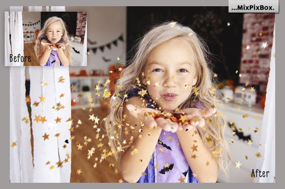 Print on Demand: Golden Confetti Photo Overlays Graphic Layer Styles By MixPixBox - Image 2