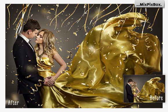 Print on Demand: Golden Confetti Photo Overlays Graphic Layer Styles By MixPixBox - Image 4